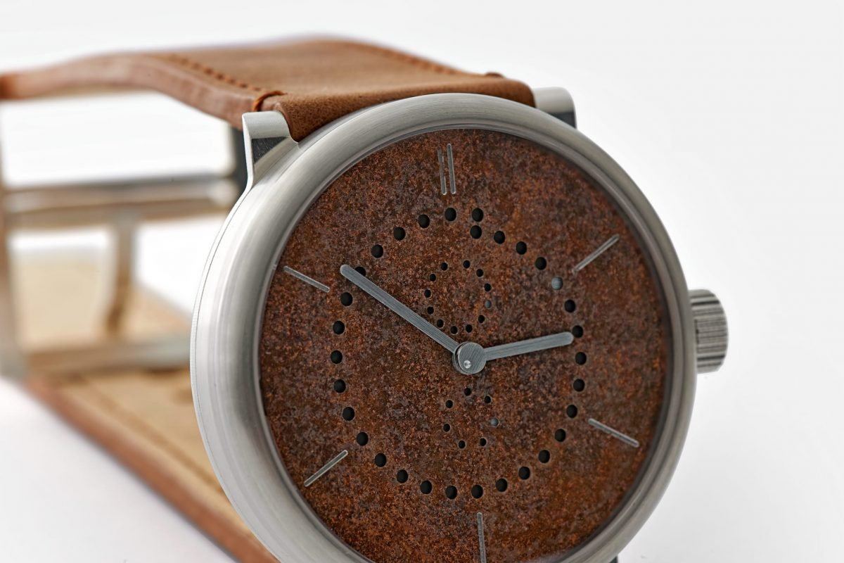 annual calendar watch (42mm sterling silver 925 case with rusted iron dial by ochs und junior, case side)