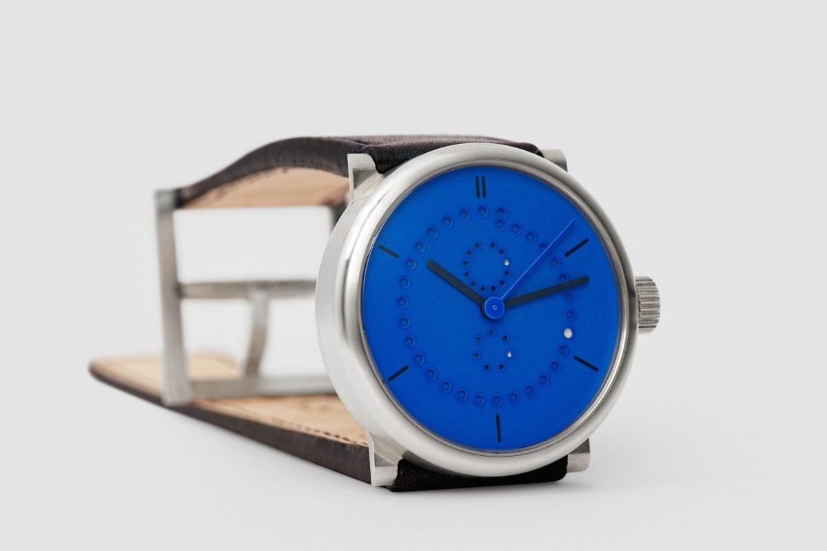 annual calendar watch (39mm sterling silver 925 case with Yves Klein blue dial by ochs und junior)