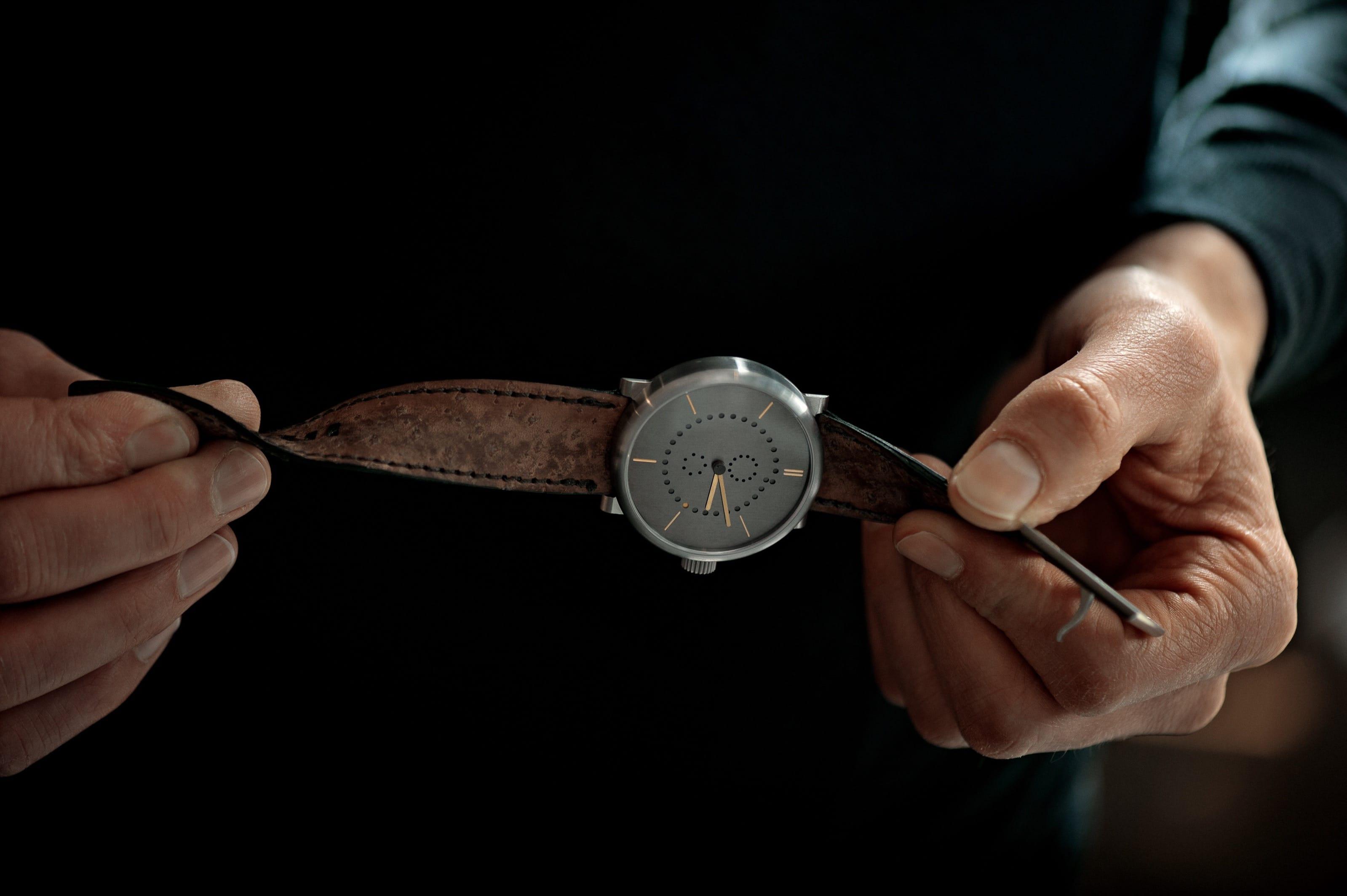 annual calendar watch (42mm grade 5 titanium case with patina dial by ochs und junior, sturgeon leather strap)