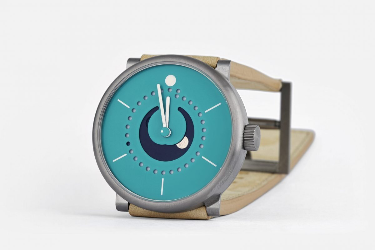 moon phase watch (42mm grade 5 titanium case with fender stratocaster sea foam green dial, by ochs und junior)