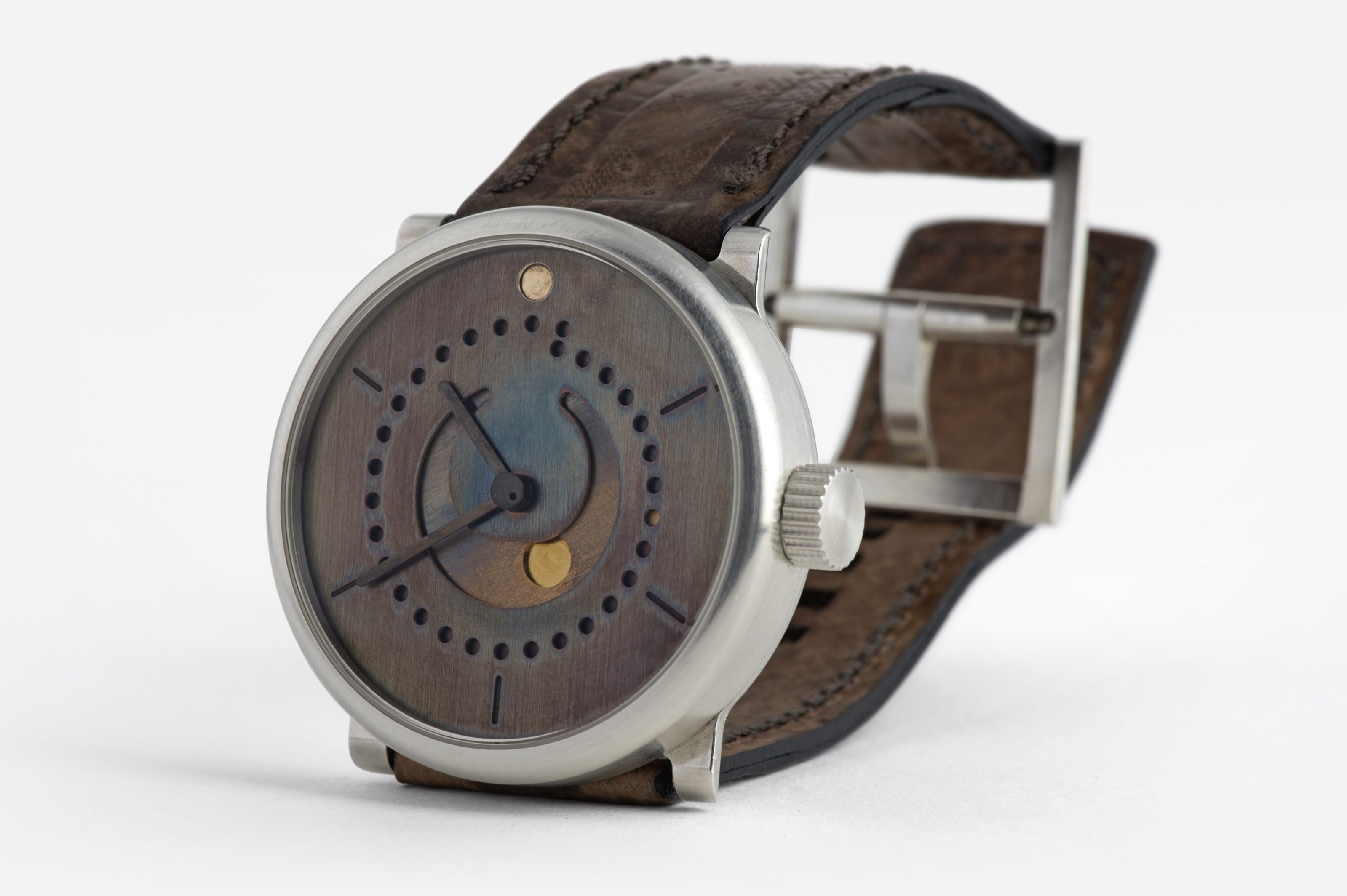moon phase watch (39mm sterling silver 925 case with art patina dial by ochs und junior, crown side)